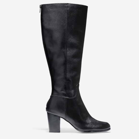 Cole Haan Placid Black Leather Wide Calf Boots